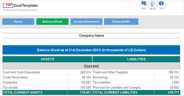Balance Sheet + Income Statement + Financial KPI - Excel Template