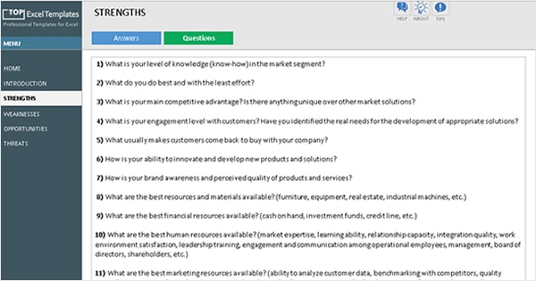 SWOT Analysis Template Jumpstart Guide - Example Excel ...