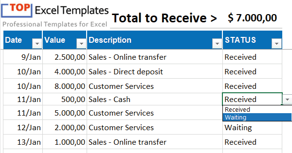 Accounts Receivable Excel Spreadsheet Template Free from topexceltemplates.com